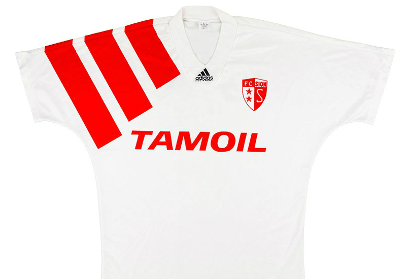 Adidas 1993 1994 Fc Sion Match Issue Home Shirt