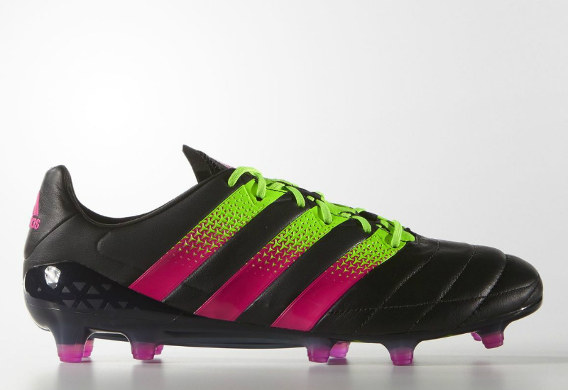 Adidas Ace 16 1 Firm Ground Leather Boots Core Black Solar Green Shock Pink