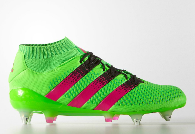 32364795e Adidas Ace 16 1 Primeknit Firm Ground Boots Solar Green Shock Pink Core  Black