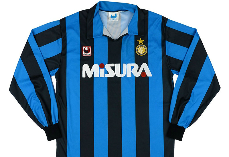new arrival 9f3bb 029ee Uhlsport 1990-91 Inter Milan Home Shirt | Vintage Football ...