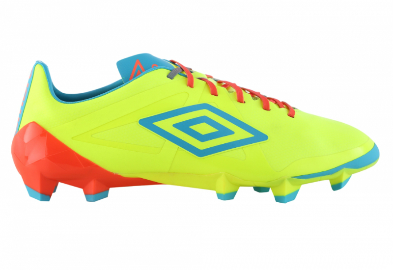 Umbro Velocita Pro Hg Football Boots Safety Yellow Scuba Blue Fiery Coral