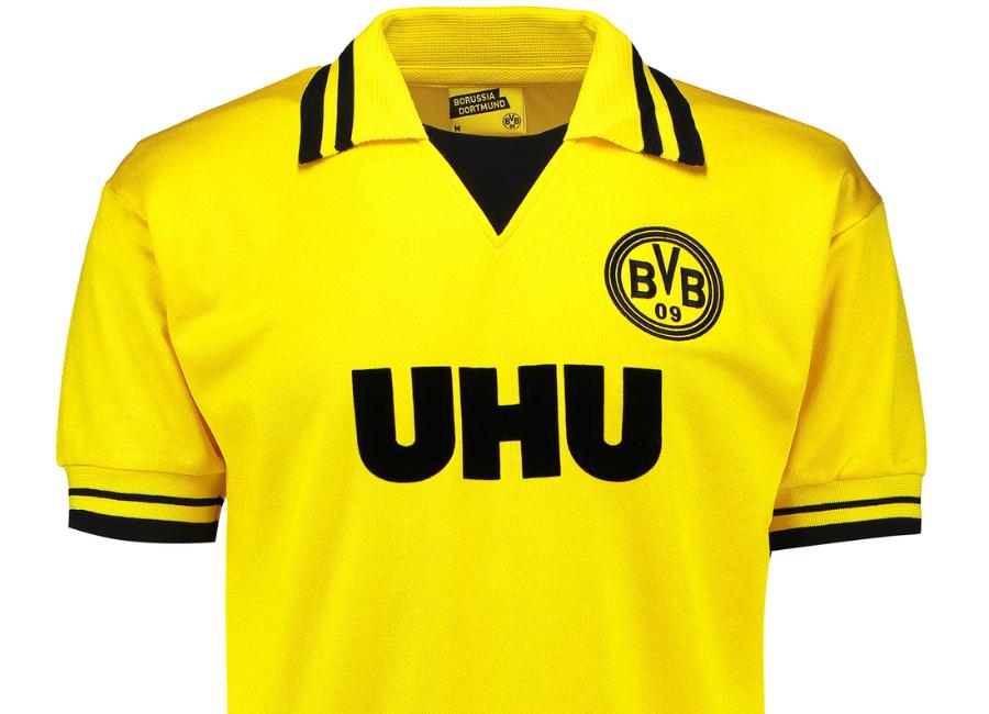 brand new ec621 e8abf Borussia Dortmund 1982 Home UHU Retro Shirt   Retro ...