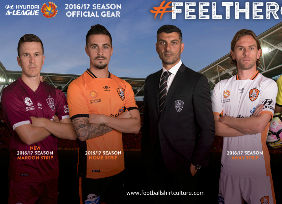 Brisbane Roar 2016 2017 Umbro Home Away And Third Shirts