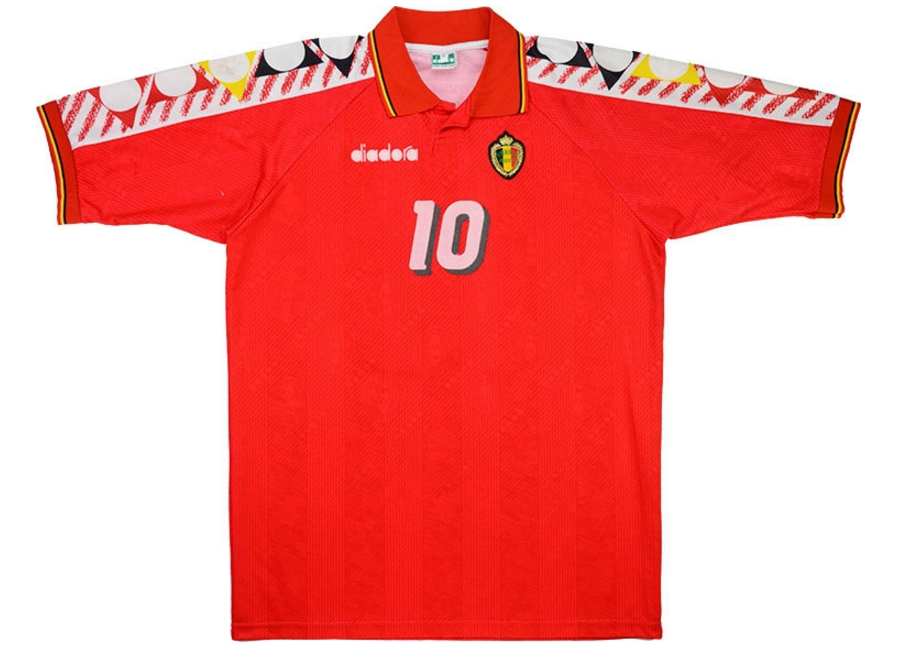 65111a415 Diadora 1994 Belgium Match Worn World Cup Home Shirt