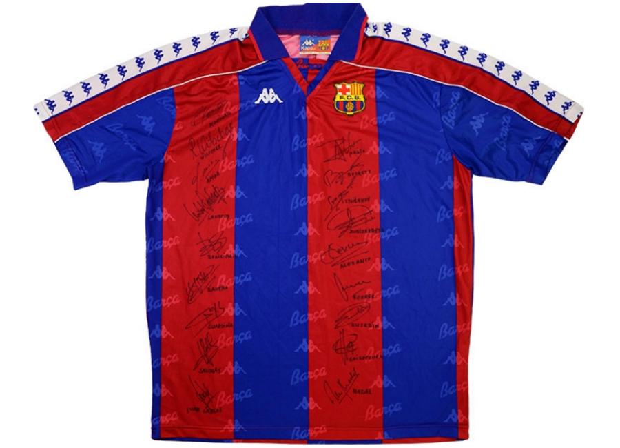 ec2b28116 Kappa 1992-93 Barcelona Match Issue Signed Home Shirt