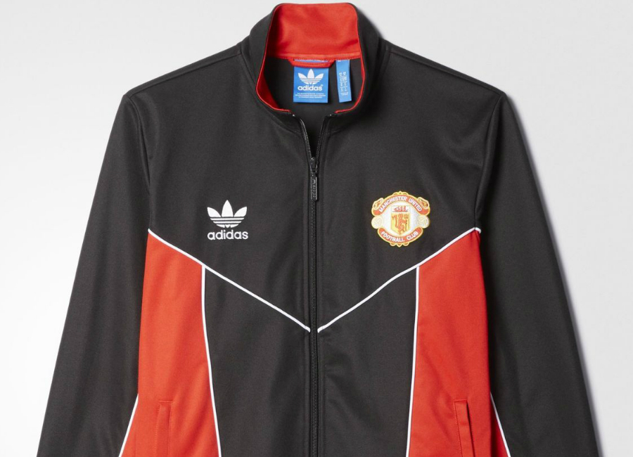 Manchester United Fc 80s Adidas Originals Track Jacket Black Red
