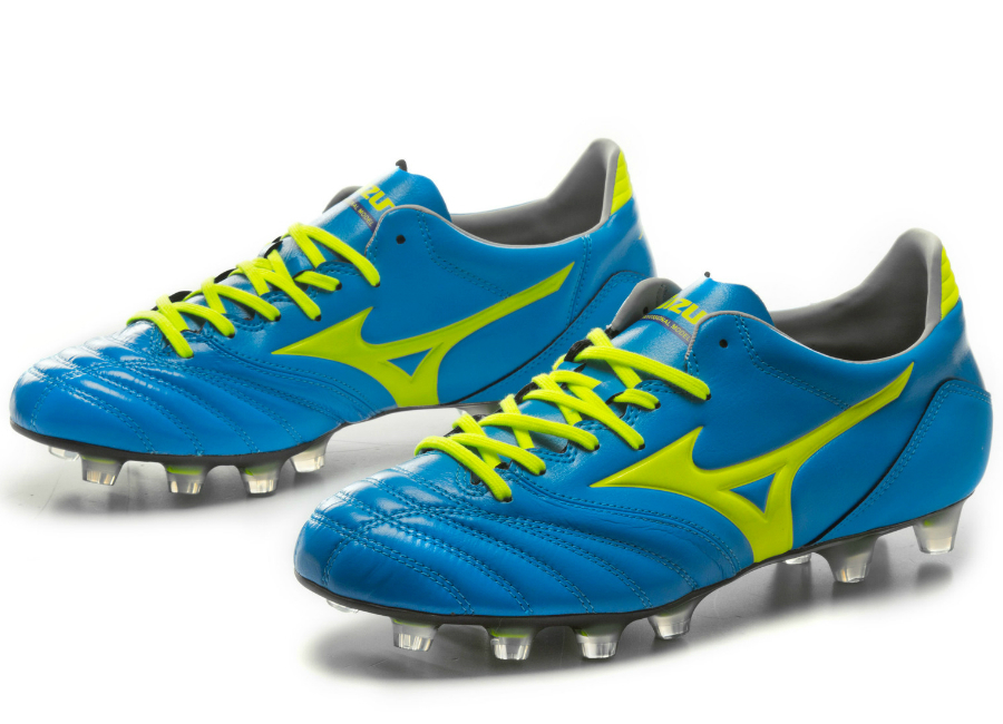 Mizuno Morelia Neo K Leather Md Fg Football Boots Diva Blue Safety Yellow