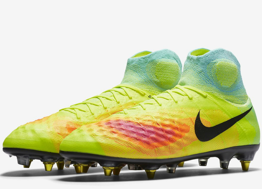 Nike Magista Obra Leather Sg Pro Anti Clog Traction Volt Total Orange Pink Blast Black