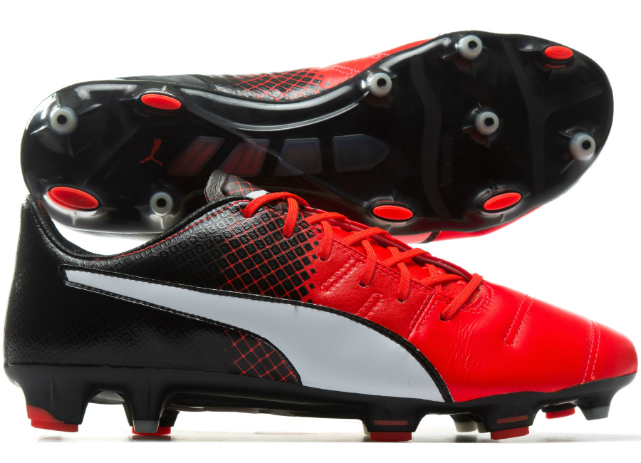 Puma Evopower 1 3 Leather Fg Football Boots Red White Black