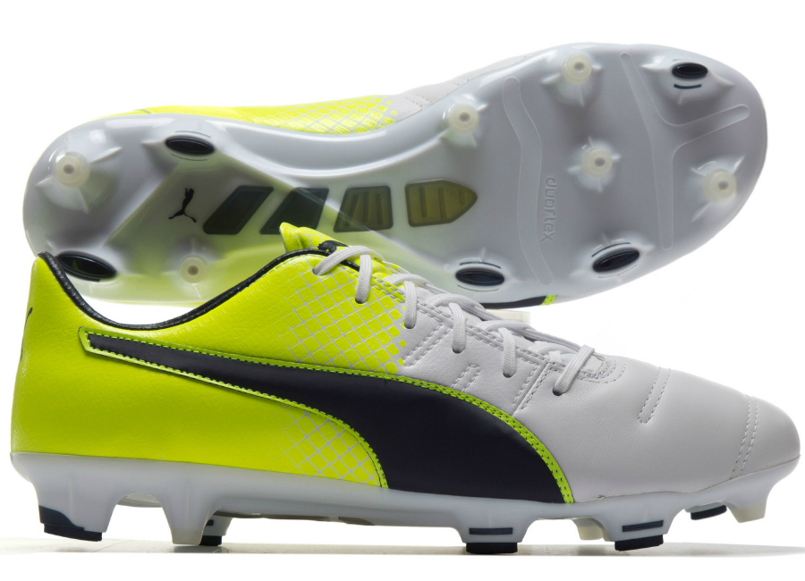 Puma Evopower 1 3 Leather Fg Football Boots White Peacoat Solar Yellow