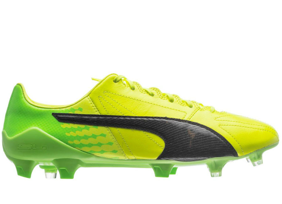 Puma Evospeed 17 Sl K Leather Fg Safety Yellow Puma Black Green Gecko