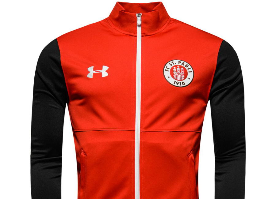 Under armour st pauli training jacket red black for Under armor football shirts