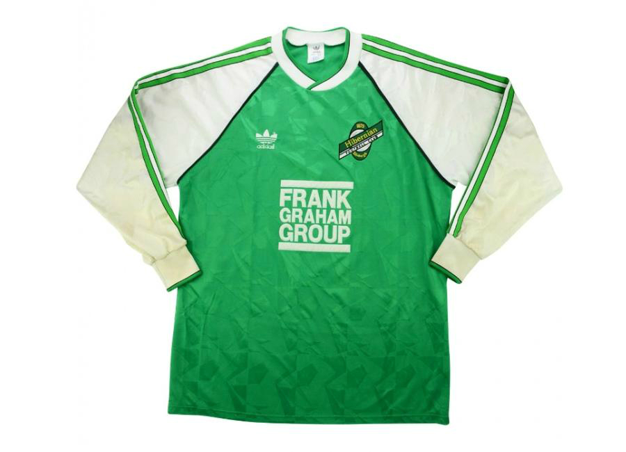 Adidas 1989 90 Hibernian Match Worn Uefa Cup Home Shirt Collins