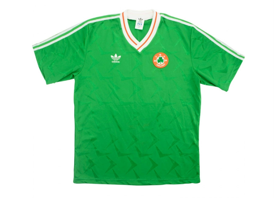Adidas 1990 Ireland Match Worn Home Shirt Townsend