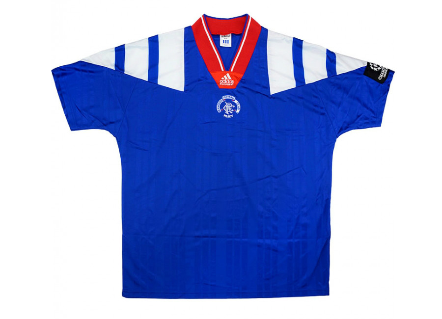 Adidas 1992 93 Rangers Match Issue Champions League Home Shirt