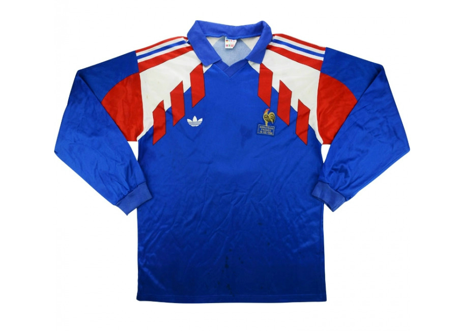 Adidas 1992 France Match Worn Home Shirt Angloma1