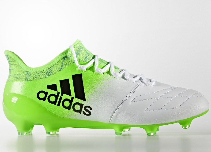 Adidas X 16 1 Leather Turbocharge Firm Ground Boots Footwear White Core Black Solar Green