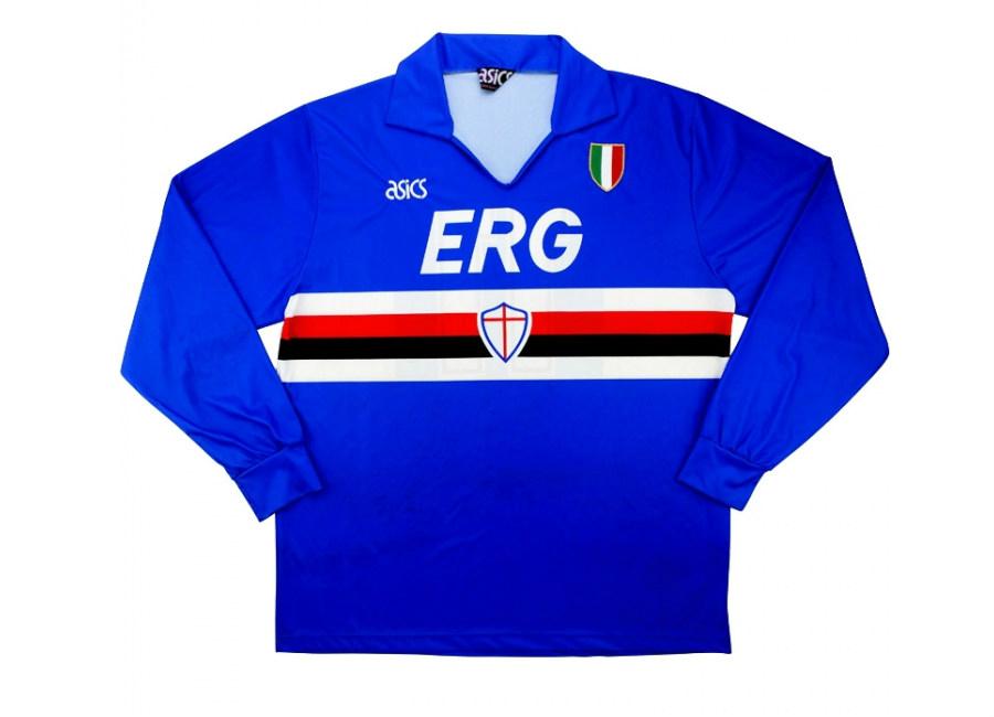 d54459bb0cc91e Asics 1991-92 Sampdoria Match Worn European Cup Home Shirt   Vintage ...