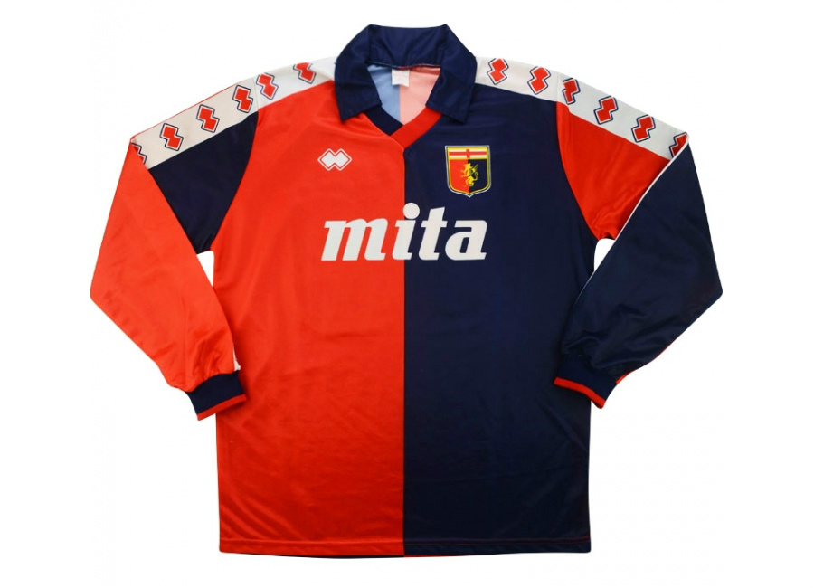 Errea 1990 Genoa Match Issue Home Shirt Belingheri