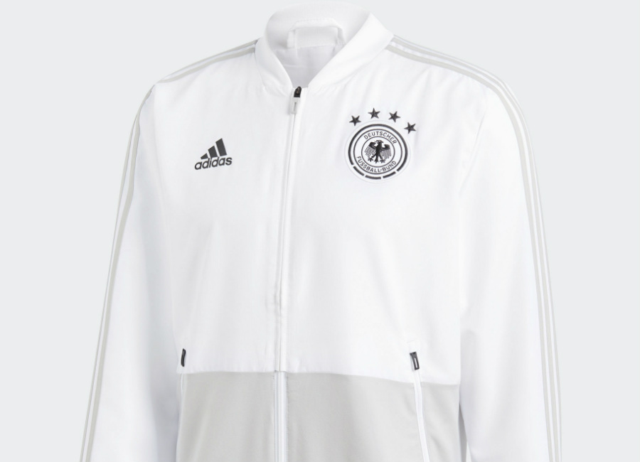 Germany 2018 World Cup Adidas Presentation Jacket - White / Grey Two