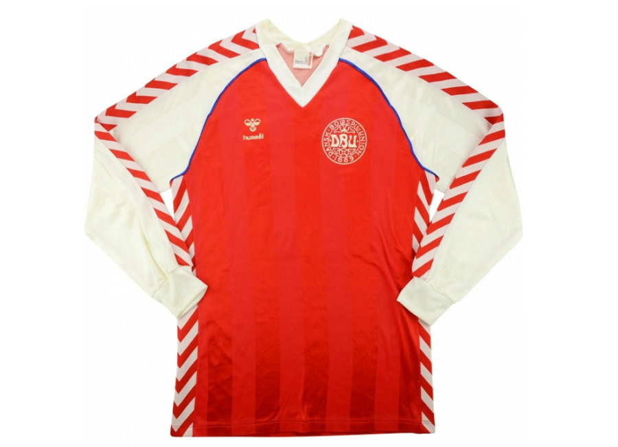 Hummel 1984 Denmark Match Worn Home Shirt Brylle
