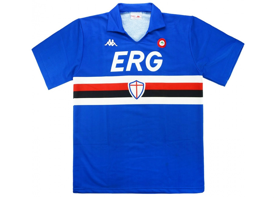 Kappa 1988-89 Sampdoria Match Worn Cup Winners Cup Home Shirt
