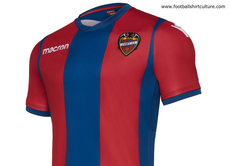 The Levante UD 17 18 home football shirt by Macron features vertical  stripes in navy blue and maroon. 64fb4629a