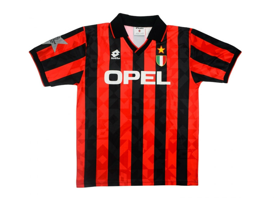 Lotto 1994 95 Ac Milan Match Worn Champions League Home Shirt Stroppa