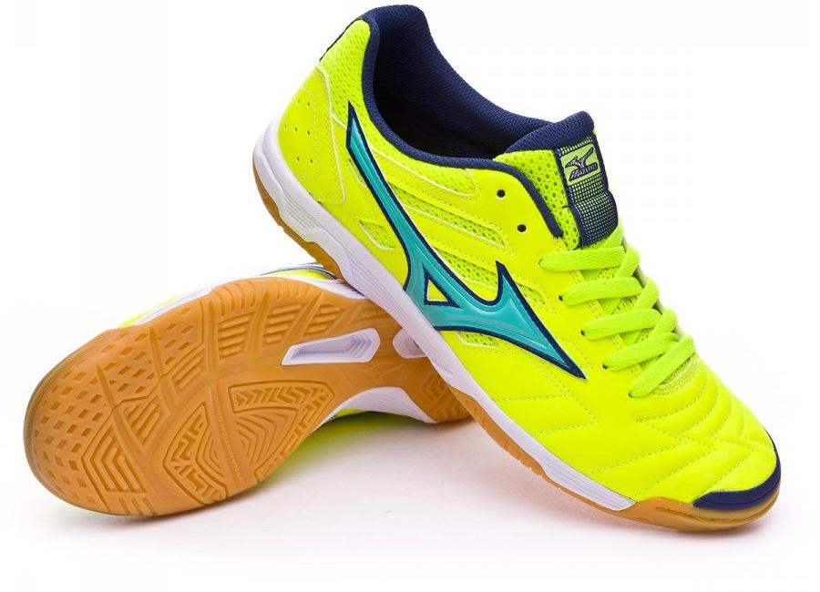 Mizuno Sala Classic Ii In Safety Yellow Turquoise