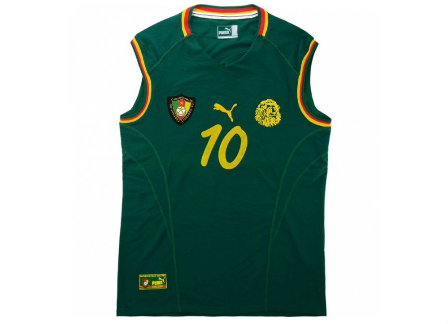 Puma 2002 Cameroon Match Worn Home Vest Shirt