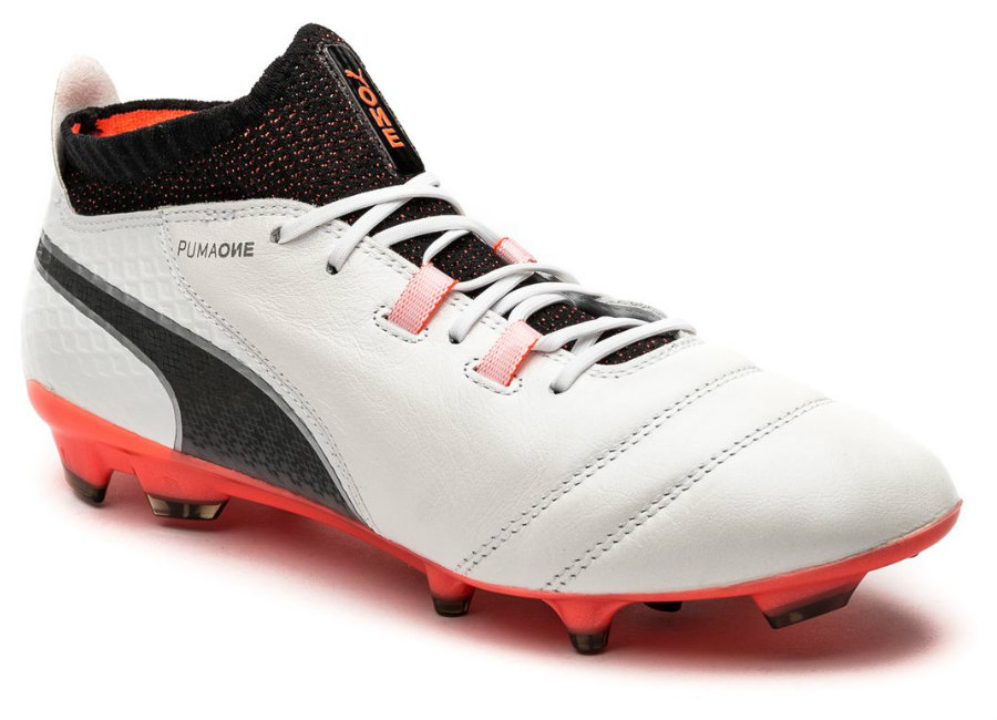 Puma One 17 1 Fg Puma White Puma Black Fiery Coral