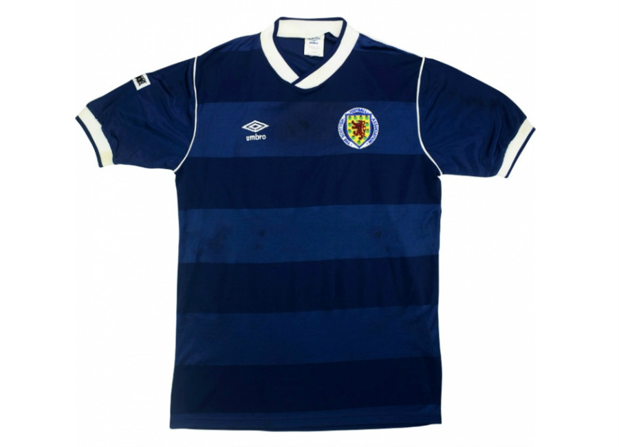 Umbro 1987 Scotland Match Worn Home Shirt Simpson