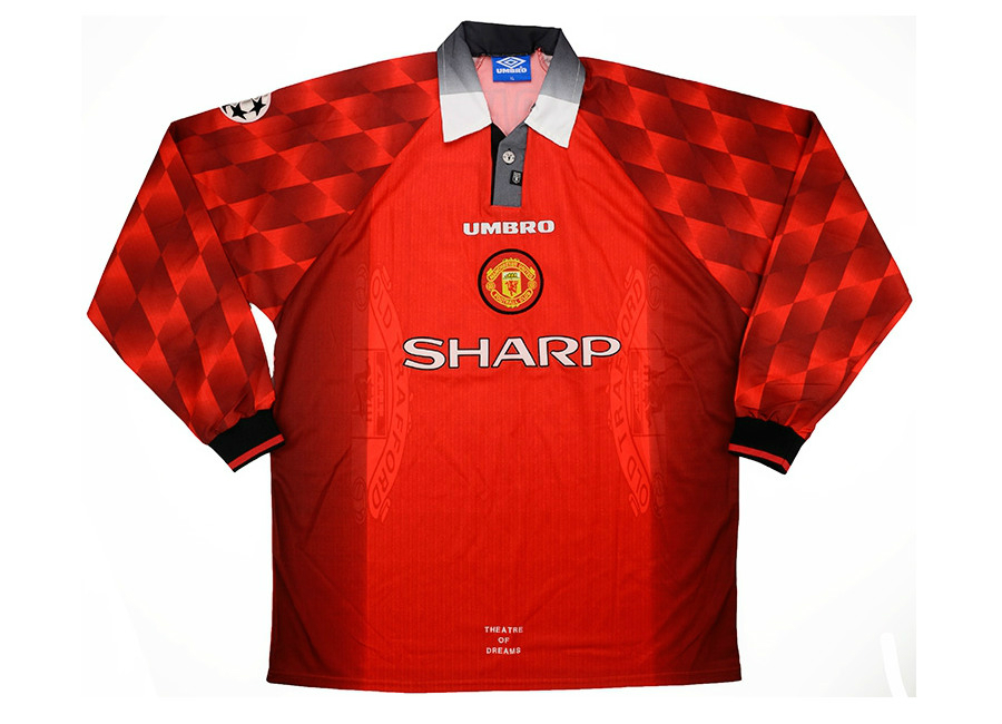 6b24b1cefe0 Umbro 1996-97 Manchester United Match Issue Champions League Home Shirt