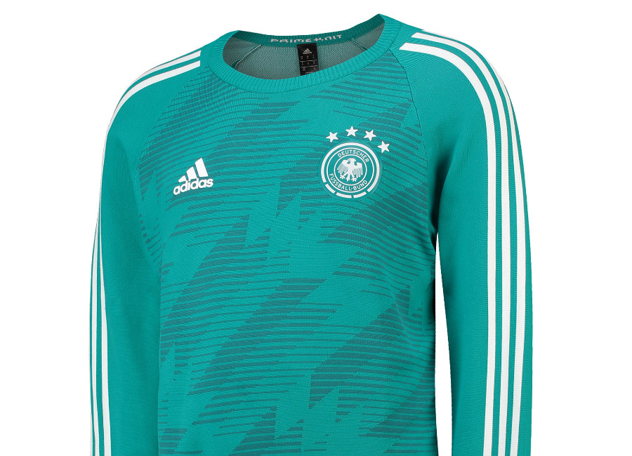 3eefc26f02882d Adidas Germany 2018 Knitted Away Sweatshirt - Eqt Green   Real Teal   White