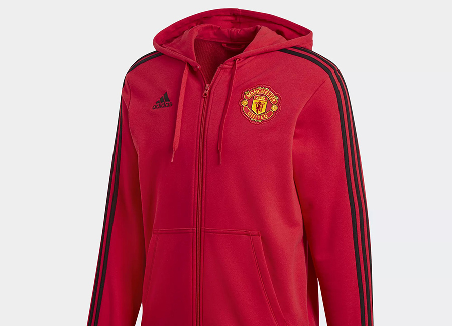 Adidas Manchester United 3-stripes Hoodie - Real Red / Black