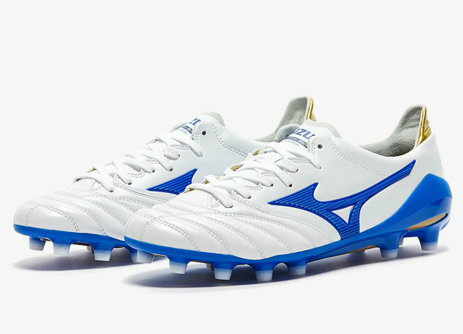 Mizuno Morelia Neo II Made in Japan FG - White / Wave Cup Blue / Cyber Yellow