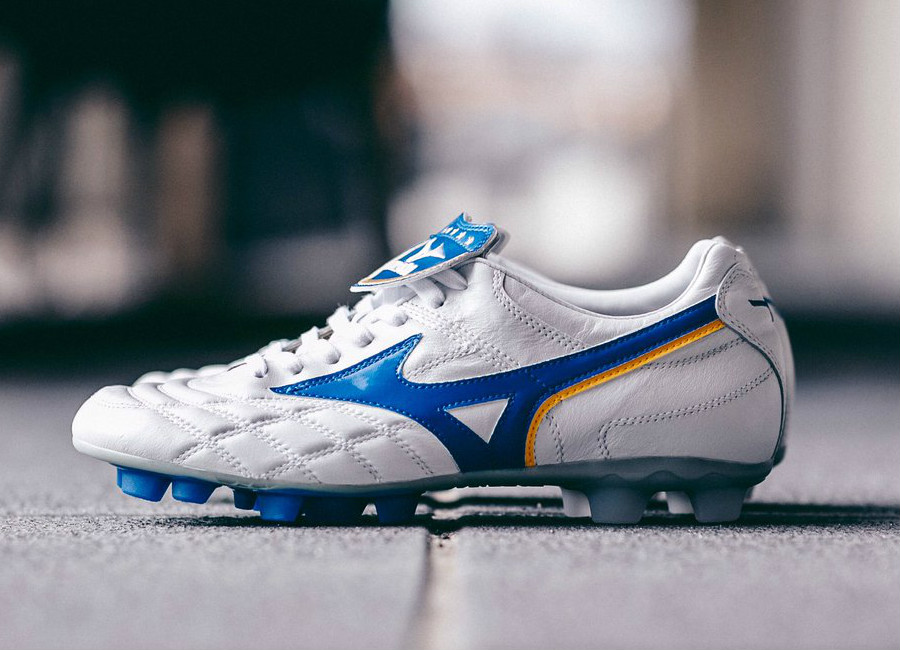 Mizuno Wave Cup Legend FG - White / Wave Cup Blue / Cyber Yellow