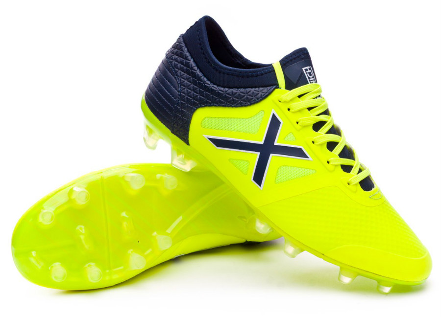 Munich Tiga FG Football Boots - Lime / Navy blue