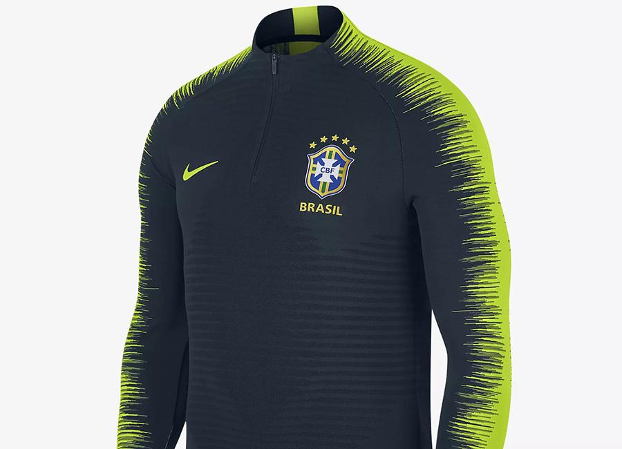 Nike Brasil CBF VaporKnit Strike Drill Football Top - Armoury Navy / Volt / Volt