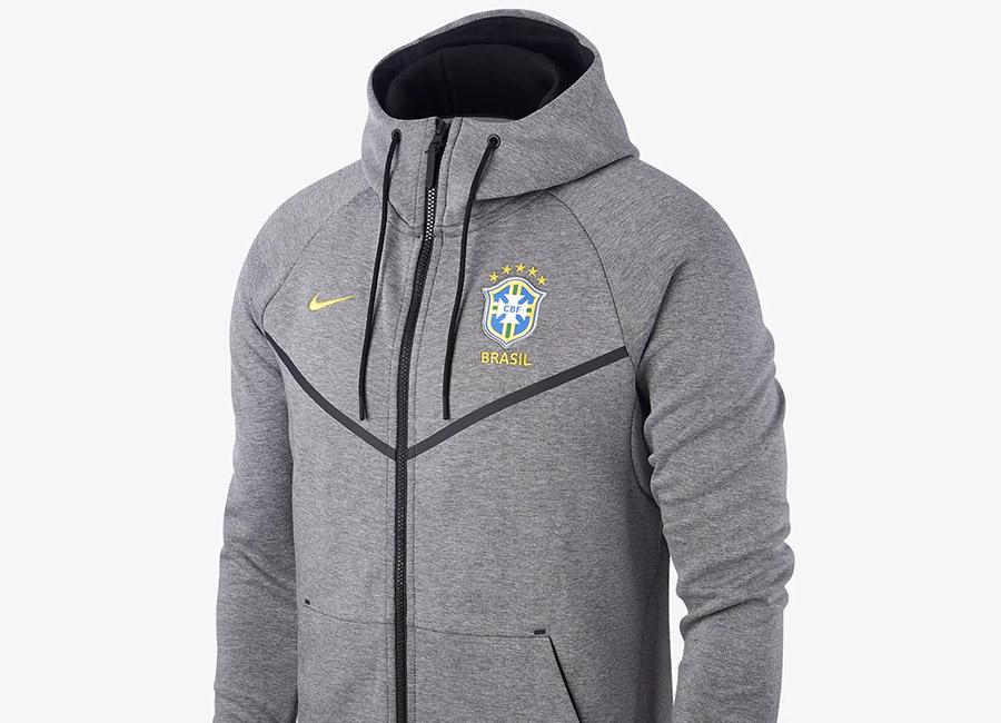 Nike Brazil CBF Tech Fleece Windrunner Jacket - Carbon Heather / Black / Midwest Gold