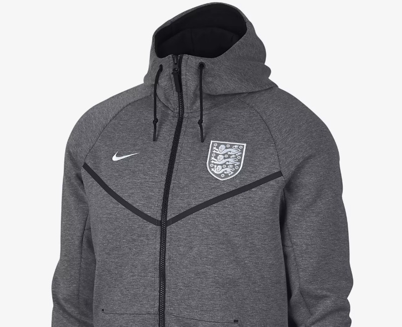 Nike England Tech Fleece Windrunner Jacket - Carbon Heather / Black / White