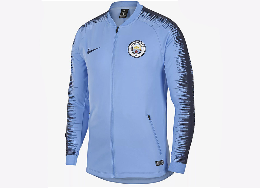 Nike manchester city fc anthem jacket field blue for Navy blue and white nike shirt