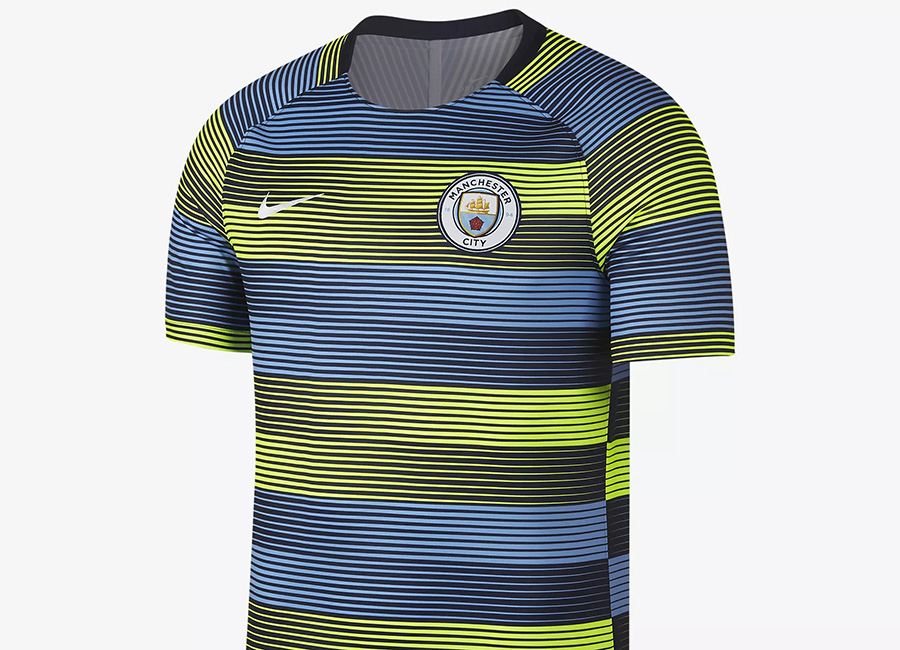 Nike Manchester City FC Dri-FIT Squad Football Top - Volt / Field Blue / Dark Obsidian / White