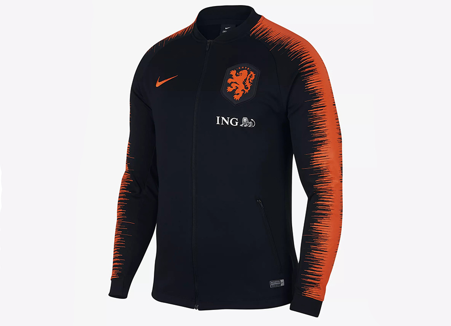 Nike Netherlands Anthem Jacket - Black / Black / Safety Orange / Safety Orange