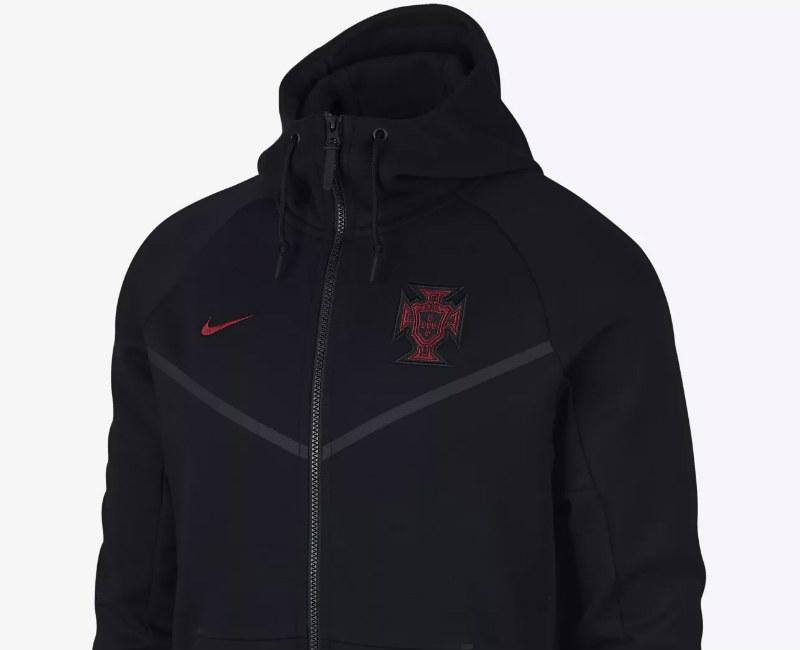 Nike Portugal Tech Fleece Windrunner Jacket - Black / Gym Red