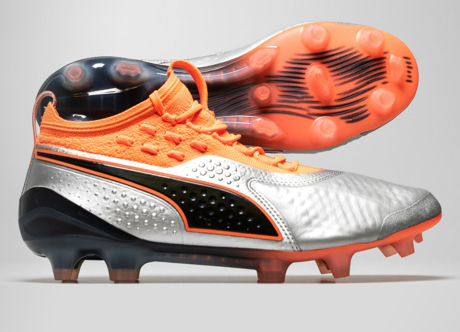 Puma One 1 Lth FG/AG Uprising - Puma Silver / Shocking Orange / Puma Black
