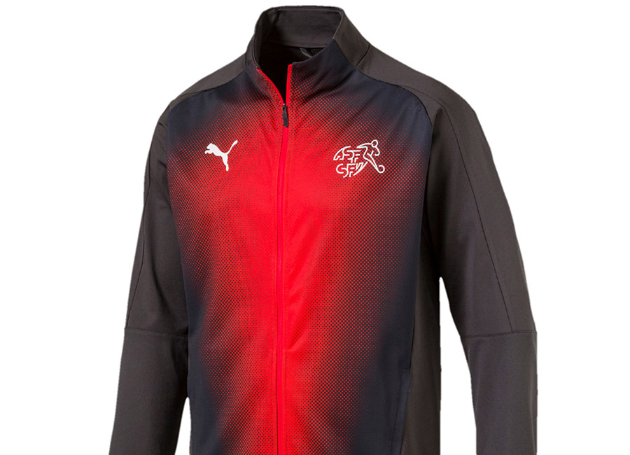 Switzerland 2018 Puma Stadium Jacket - Asphalt / Red