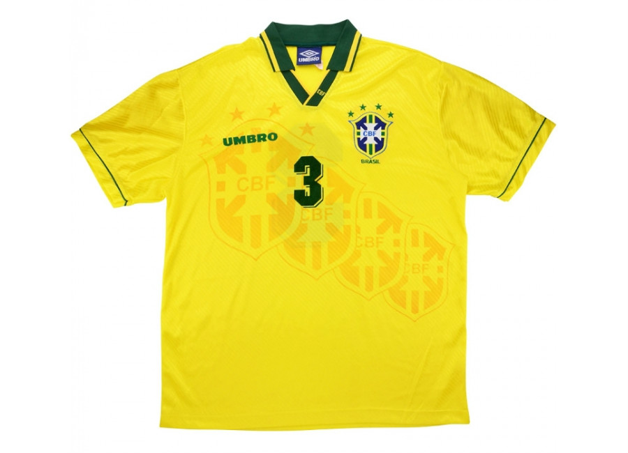 Umbro 1995 Brazil Match Worn Umbro Cup Home Shirt