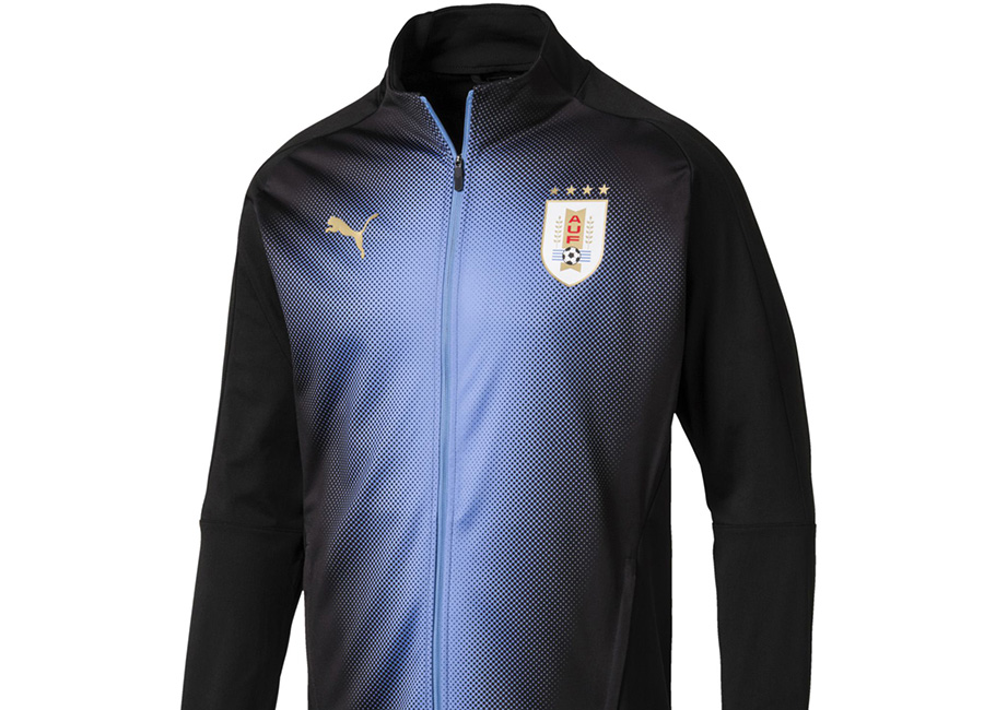 Uruguay 2018 Puma Stadium Jacket - Puma Black / Silver Lake Blue