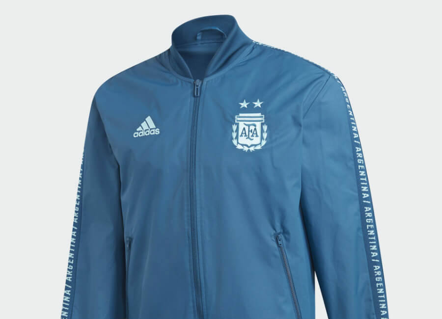 Adidas 2019 Argentina Anthem Jacket - Blue Night / Light Aqua #adidasfootball #adidassoccer #adidasfutbol